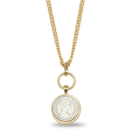 Danon jewellery : Long silver and Gold 5 pence coin Necklace