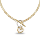 Mixed Metal Danon Jewellery: Gold Foxtail Necklace with Gold and Silver Heart Pendant