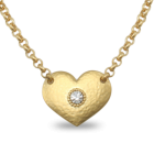 Danon Jewellery: Large Gold Hammered HEART WITH CRYSTAL ON BELCHER CHAIN NECKLACE