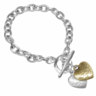 Danon Jewellery: Open Link Chain Bracelet with Silver and Gold Heart Charms