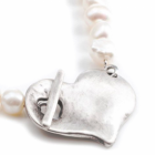 DANON PEARL NECKLACE WITH LARGE SILVER CHUNKY HEART