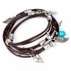 Danon jewellery Leather Charm Wrap Bracelet