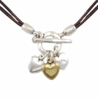 Danon Jewellery: Chic Double Cord Leather Necklace with Multi-Tone Hearts