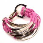 Sale: Pink Cord and Silver Bracelet