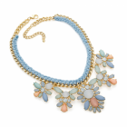 Fashion jewellery: Gold colour blue and pastel tone statement chain cord necklace.