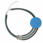 Amazing Fashion Jewellery: Chunky Teal and Black Neoprene Short Necklace with Large Blue Disc (YK38)