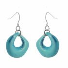 Bright and Bold Costume Jewellery: Shiny Aqua Blue Curved Round Drop Earrings (35mm drops) (M141)