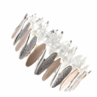 Beautiful Fashion Jewellery: Silver Alternating Size Oval Bracelet in Matt Earth Tone Colours (R318)