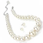 Fashion Jewellery:Cream pearl colour graduated bead necklace and earring set