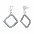Contemporary Fashion Jewellery: Matt Grey Rhombus Drop Earrings
