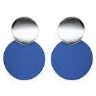Fabulous Fashion Jewellery: Statement Double Circle Stud and Drop Earrings with Shiny Silver and Deep Royal Blue Finish