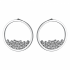 Glamorous Fashion Jewellery: Silver Tone Large Circle Outline Studs with Exquisite Crystal Detail (2.5cm x 2.5cm) (YK224)