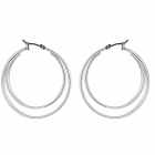 Fashion Jewellery Favourites: Double Hoop Earrings with Click-Top Fastening in Shiny Silver Finish (4cm x 4cm)