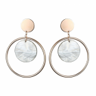 Statement Fashion Jewellery: Large Circle Design Earrings in Rose Gold Tone with Cloudy Grey Marble Effect Disc Detail (YK225)
