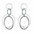 Statement Fashion Jewellery: Interlinking Circles Drop Earrings in Shiny Silver Finish (6cm x 3cm)(YK216