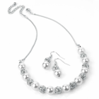 Fashion Jewellery: Silver colour crystal cream pearl effect choker necklace and earring set.