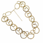 Statement Fashion Jewellery: Chunky Linked Circle Necklace with Worn Gold Finish (M157)