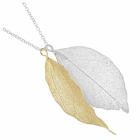 Gift Boxed: Real Leaf Silver and Gold Bay Leaf Necklace (will vary in shape and size) (m119)