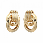 Stunning Fashion Jewellery: Chunky Linked Gold Circles Stud Earrings
