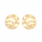 Statement Fashion Jewellery: Extra Large Hammered Gold Circle Stud Earrings with Wavy Edges