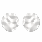 Statement Fashion Jewellery: Extra Large Hammered Silver Circle Stud Earrings with Wavy Edges