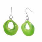 Bright and Bold Costume Jewellery: Shiny Aqua Blue Curved Round Drop Earrings (35mm drops)
