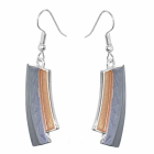 Contemporary Fashion Jewellery: Matt Metallic Grey and Yellow Curved Earrings (Full Drop incl Hook: 50mm)