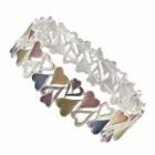 Beautiful Fashion Jewellery: Bracelet with Alternating Sized hearts with multi-tone Hues (R307)