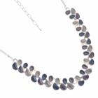 Contemporary Fashion Jewellery: Matt Grey, Purple and Blue Repeated Teardrop Motif Necklace