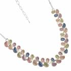 Contemporary Fashion Jewellery: Matt Yellow, Purple, Pistachio Green and Blue Repeated Teardrop Motif Necklace