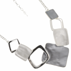 Contemporary Fashion Jewellery: Necklace with Matt Grey, White and Silver Solid and Outline Squares