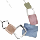 Contemporary Fashion Jewellery: Necklace with Matt Blue, Pink and Pistachio Solid and Outline Squares