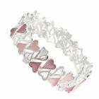 Beautiful Fashion Jewellery: Silver Alternating Size Oval Bracelet in Matt Earth Tone Colours (R318)