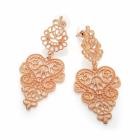 Fashion Jewellery: Rose gold colour filigree design drop earring.