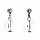 Simple Fashion Jewellery: Gold Earrings with Crystal and Clear Bead Drop