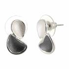 Contemporary Fashion Jewellery: Matt Grey and White Double Teardrop Stud Earrings