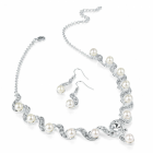 Fashion Jewellery: Silver and white pearl colour crystal necklace and earring set.