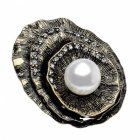 FBH3-0344RA Burnished Gold and Pearl Brooch