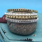 x SALE Fashion Jewellery: Statement Gold and Silver Tone Bangle Set (S80)