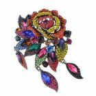 Vintage Style multi coloured crystal Leaf Brooch
