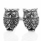 Oxidised Sterling Silver Wise Owl Studs