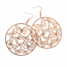 Fashion Jewellery: Rose gold colour round butterfly design earring.