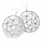 Fashion Jewellery: Silver colour round butterfly design earring.