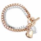 Danon Jewellery: Chunky Box Bracelet chain with hearts in Silver and Rose Gold