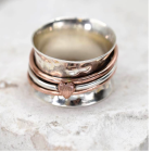 Sterling Silver and Copper Statement Ring with Heart Design Spinning Bands
