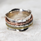 Stunning Sterling Silver Jewellery: Fluted Worry Ring with Copper and Brass Spinning Bands
