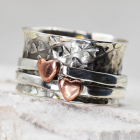 Gorgeous Heart Embossed Sterling Silver Spinning 'Meditation' Ring with Rose Gold Lovehearts