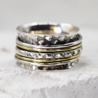 Gorgeous Heart Patterned Sterling Silver and Brass 'Meditation' Ring with Spinning Bands