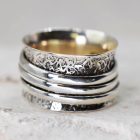 Stunning Sterling Silver Jewellery: Oxidised Textured Worry Ring with Spinning 'Meditation' Bands