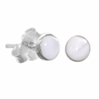 Simple Sterling Silver Jewellery: Tiny (4mm) Mother of Pearl Dot Stud Earrings